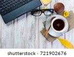 autumn still life. tea party... | Shutterstock . vector #721902676