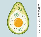 avocado baked with egg and... | Shutterstock .eps vector #721904728