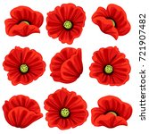 poppy flowers icons set. vector ... | Shutterstock .eps vector #721907482