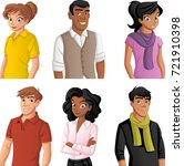 group of cartoon young people.   | Shutterstock .eps vector #721910398