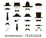 mustache and hats set | Shutterstock . vector #721912618