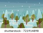 cartoon forest  winter . vector ... | Shutterstock .eps vector #721914898