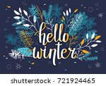 winter card with leaves and... | Shutterstock .eps vector #721924465