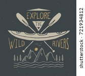 kayak and canoe vintage label ... | Shutterstock .eps vector #721934812