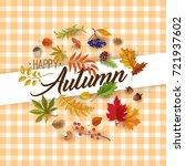 autumn leaves  cartoon autumn... | Shutterstock .eps vector #721937602