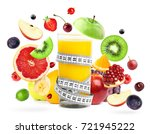 mixed fruits falling and orange ...   Shutterstock . vector #721945222
