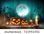 halloween pumpkins on wooden... | Shutterstock . vector #721951552