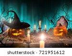 halloween pumpkins on wooden... | Shutterstock . vector #721951612