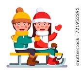 smiling boy and girl kids... | Shutterstock .eps vector #721952392