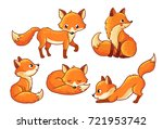 Set Of Cute Cartoon Foxes In...