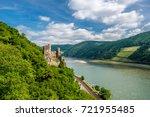 rheinstein castle at rhine...   Shutterstock . vector #721955485