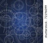 top view of gears blueprint... | Shutterstock . vector #72196099