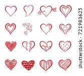 hand drawn heart doodle vector  ... | Shutterstock .eps vector #721983625