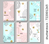 set of artistic colorful... | Shutterstock .eps vector #722001265