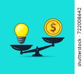 idea bulb and money on scales... | Shutterstock .eps vector #722008642