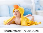 happy laughing baby wearing... | Shutterstock . vector #722010028