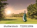 golf equipment and golf bag ... | Shutterstock . vector #722011006