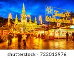 traditional christmas market... | Shutterstock . vector #722013976