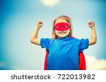 funny little girl playing power ... | Shutterstock . vector #722013982