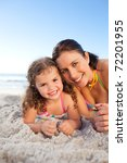 mother and daughter lying down... | Shutterstock . vector #72201955