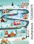 a vector illustration of winter ... | Shutterstock .eps vector #722020075