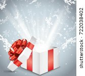 christmas magic gift box with... | Shutterstock .eps vector #722038402