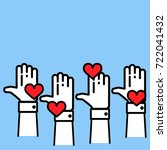 businessman hands raised up in... | Shutterstock .eps vector #722041432