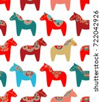 Stock vector colorful seamless vector pattern with scandinavian christmas horses on white background 722042926