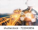 double exposure of engineer or... | Shutterstock . vector #722043856