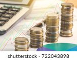 stacked of coins with... | Shutterstock . vector #722043898