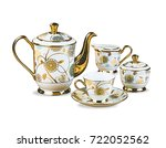 kettle teacup with plate on... | Shutterstock . vector #722052562