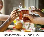 friends party drinks healthy... | Shutterstock . vector #722054122