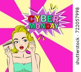 woman with cyber monday on the... | Shutterstock .eps vector #722057998