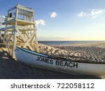 a lifeboat and lifeguard chair... | Shutterstock . vector #722058112