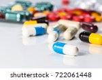 antibiotics contain blue pills  ...   Shutterstock . vector #722061448