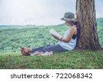 asian women relax in the...   Shutterstock . vector #722068342