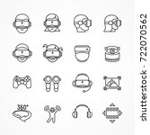 virtual reality linear icon set ... | Shutterstock .eps vector #722070562