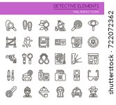 detective elements   thin line... | Shutterstock .eps vector #722072362