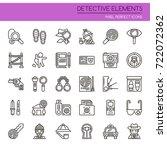 detective elements   thin line...   Shutterstock .eps vector #722072362
