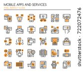 mobile apps and service   thin... | Shutterstock .eps vector #722072476