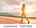 fitness girl doing running... | Shutterstock . vector #722075866