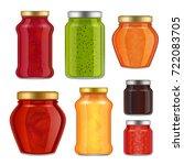 vector fruit jam jar icon set.... | Shutterstock .eps vector #722083705