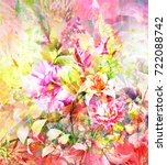 abstract colorful flowers...   Shutterstock . vector #722088742