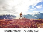 hiking man in canadian... | Shutterstock . vector #722089462