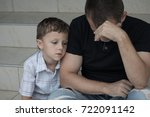portrait of young sad little... | Shutterstock . vector #722091142