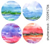 a set of watercolor round...   Shutterstock . vector #722091736