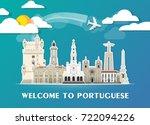 portuguese landmark global... | Shutterstock .eps vector #722094226