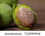 fresh harvest of walnuts on a... | Shutterstock . vector #722094946