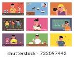 various online internet lecture ... | Shutterstock .eps vector #722097442