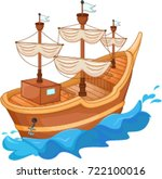 antique ship  cartoon | Shutterstock .eps vector #722100016
